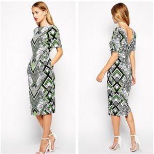 ASOS Midi Wiggle Dress in Art Deco Print